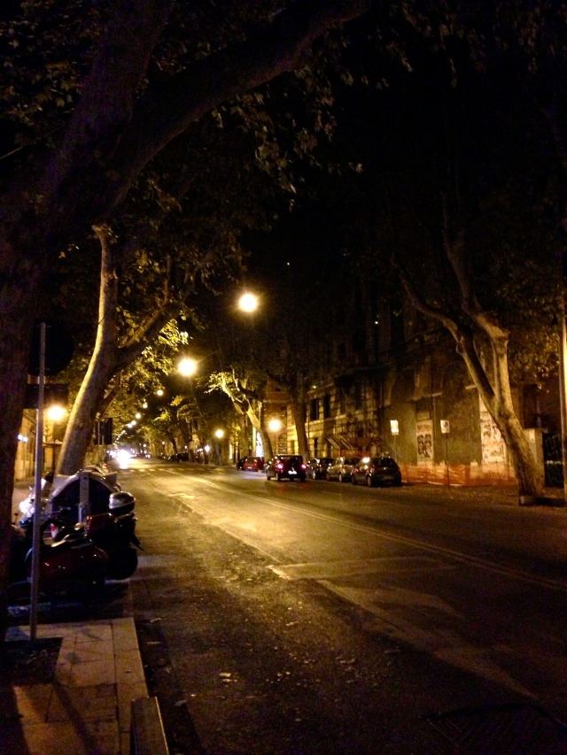 Street at night in Rome